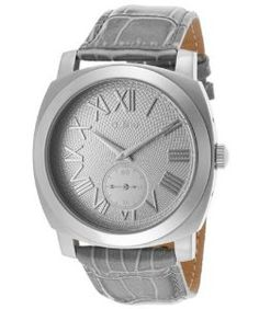 a_lineWomen's Pyar Silver Textured Dial Gray Genuine Leather