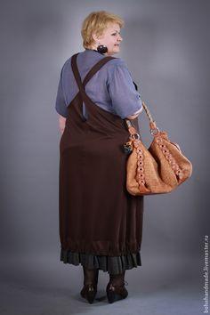 Купить Блуза и сарафан бохо - блузка, сарафан, бохо, boho style, для полных, коричневый, голубой