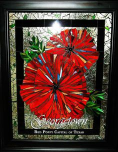 "Marlene Coleman - ""Poppybest"" by Mosaics by Marlene, via Flickr. Stained glass window"