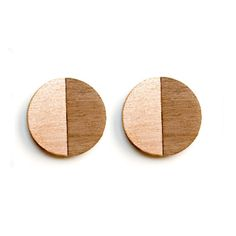 Turpentine Francesca Walnut & Copper Earrings: These Francesca Walnut & copper Earrings are part of a brand new mixed material jewellery collection designed in-house by Jude de Berker and exclusive to the Turpentine.  Inspired by time spent in her dad's carpentry workshop as a child and her training as a jeweller at Central Saint Martins the range mixes solid walnut wood with brushed steel, copper, brass and 100% solid silver earrings backs and findings.  The design incorporates elegant…