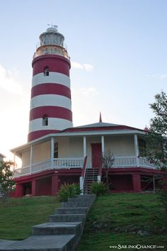 Hopetown Lighthouse in the Bahamas - one of the hand cranked and kerosene fueled lighthouses left in the world