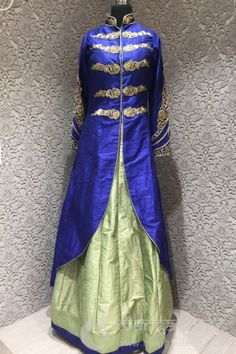 <p>Your ethnic wardrobe will look fashionable and trendy as you include this Dashing Royal Blue, Pista Green Silk Designer Readymade lehenga choli. Feature with cutdanna, stone and zari work on neck line, sleeves and choli and plain kali lehenga with raw silk patch border complete your look. Available with matching net dupatta. Available Size is 36.For extra size kindly inquiry at +91 9377222211</p>