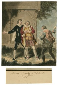 Sylvester Harding. King John, with Messers Powell, Bensley and J.R. Smith. Watercolor, 18th or early 19th century. Folger Shakespeare Library.