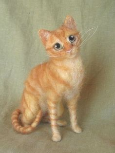 Needle felted cat portrait your kitty custom made by Ainigmati, $240.00