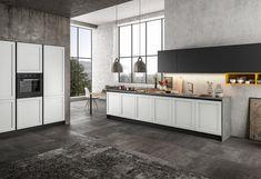 Αρμονική ισορροπία μεταξύ κλασικού και μοντέρνου στυλ με την συλλογή Frame, μέσα από τις μοντέρνες Ιταλικές κουζίνες που προσφέρουμε. Showroom, Kitchen Island, Divider, Interior Design, Frame, Furniture, Home Decor, Verona, Kitchens