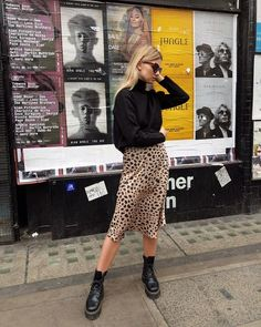 Leopard Print Skirt Outfit + Street Style Looks to Copy + Combat Boots + Fall Outfits + European Style Mode Outfits, Fall Outfits, Fashion Outfits, Womens Fashion, Fashion Ideas, Skirt Fashion, Fashion Boots, Summer City Outfits, Short Women Fashion