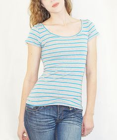 Look at this Bleu Summer Blue Stripe Bow Back Tee - Women on #zulily today!