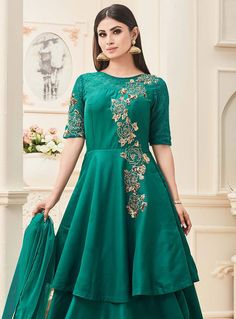 Trendy bollywood designer anarkali salwar suit is made with exclusive embroidered and lace. Shop online beautiful bollywood designer anarkali salwar suit now. Eid Dresses, Indian Dresses, Dresses Online, Evening Dresses, Mouni Roy Dresses, Bollywood Dress, Silk Lehenga, Anarkali Lehenga, Designer Anarkali