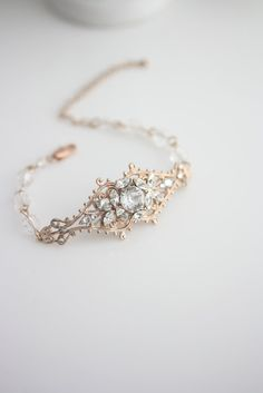 Bridal Crystal Cuff Rose Gold Filigree Bracelet Rhinestone Wedding Bracelet Vintage Bridal Jewelry SIAN CUFF BRACELET