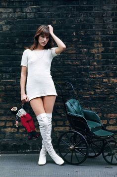 Jane Birkin, turning heads in a white minidress and boots