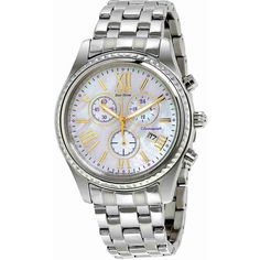 Citizen Eco-Drive Chronograph  Mother of Pearl Ladies Watch ($89) ❤ liked on Polyvore featuring jewelry, watches, eco drive watches, chronograph watch, analog chronograph watch, roman numeral watches and chronograph watches