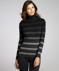 Hayden black and heather grey cashmere ombre stripe turtleneck sweater
