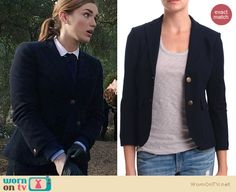 Jemma's navy blazer and peter pan collar shirt on Agents of SHIELD. Outfit Details: http://wornontv.net/21800 #AgentsofSHIELD