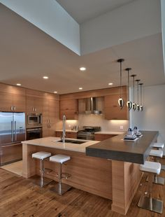 "This very zen kitchen - Houzz.com ""Grain and wood type on cabinets"""