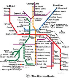 """Look's more confusing than it is: The Boston MBTA subway system (called the """"T"""" for short) can get you anywhere you need to go without breaking the bank!"""