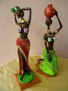 Africanas Clay Art Projects, African American Figurines, African Paintings, Art Dolls, Indian Art Paintings, Clay Art, Pottery Painting, Tropical Art, Africa Art