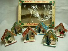 6 Vintage Christmas Tree Wood Ornaments in The Original Box Angel Santa Snowman   eBay