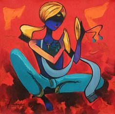 An online art gallery offering the best range of indian art online. Choose to buy from paintings, prints, artworks and more by renowned artists. African Art Paintings, Modern Art Paintings, Indian Contemporary Art, Art Painting Gallery, Art Gallery, Madhubani Art, Indian Folk Art, India Art, Beautiful Fantasy Art