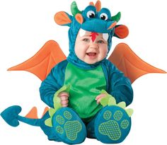 What an adorable baby Dragon costume!  Great for Halloween :)