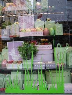 Laduree Easter window....I could do vinyl grass on the windowz