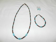 Wooden and Blue Beaded Jewelry Set by MelissasUniqueDesign on Etsy, $10.00