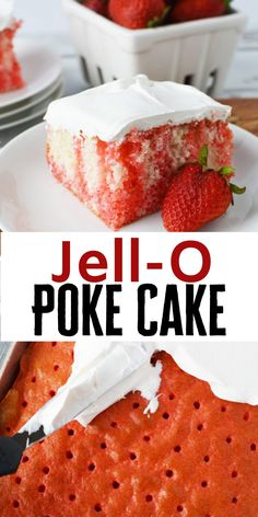 This easy Strawberry Jello Poke Cake recipe offers a really incredible presentation for something that is pretty simple Jello Cake Recipes, Poke Cake Jello, Easy Cake Recipes, Dessert Recipes, Easter Recipes, Köstliche Desserts, Delicious Desserts, Food Cakes, Cupcake Cakes