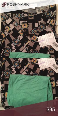 LulaRoe Outfit Large Julia with great design on black background. And sea-green OS leggings that match perfectly!!! LuLaRoe Dresses Midi