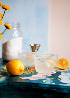 Gin Swizzle:  1 ounce lemon juice (or lime is nice, too)  1 teaspoon sugar  2 ounces gin  3 ounces bubbly water  ice