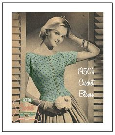 1950s Polka Dot Blouse - Crochet Pattern - PDF Instant Download- PDF Instant Download