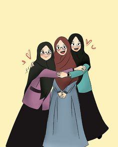 teman bahagia teman menuju surga - my ely Cartoon Kunst, Cartoon Art, Cartoon Images, Girl Cartoon, Cute Cartoon, Hijab Drawing, Islamic Cartoon, Bff Drawings, Friend Anime