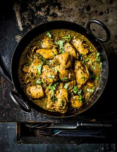 This fragrant southern Indian curry is unusual in that it gets all its heat from black pepper rather than chilli. For maximum flavour from the spices, marinate the chicken for as long as you can, then it's a speedy curry to make