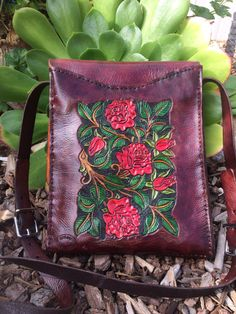Purse Bag / Leather / Women / RedRose Garden / by Delosleather