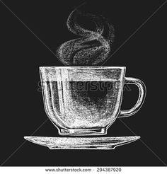 Vector cup of tea on blackboard. Eps10. Transparency used. RGB. Global colors. Gradients free - stock vector
