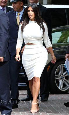 Kim Kardashian Style and Fashion - Max Mara Max Mara Ebbri dress worn by Kim Kardashian - Celebrity Style Guide