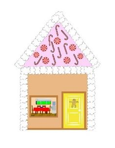 Gingerbread Man House Cut and Paste Pattern Math Literacy Thematic Unit Plans Printable Kindergarten.