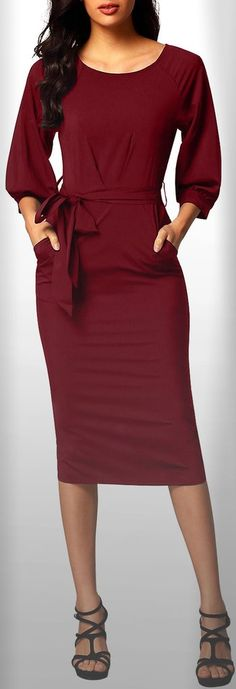 Burgundy Puff Sleeve Belt Chiffon Pencil Dress