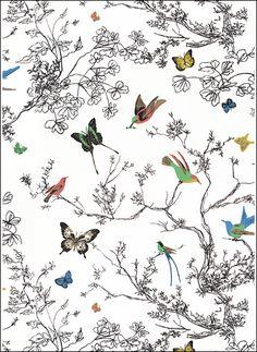 """Schumacher's """"Birds & Butterflies"""" wallpaper. Also comes in fabric."""