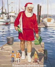 Merry Mariners - canvas giclee print | Santa Claus Figurines and Hand Carved Wooden Santas