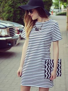 Contrast Striped Short Sleeve Straight Dress