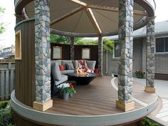 Deckorators (Fits Common Post Measurement: x Actual: x x Gray Fiberglass Deck Post Sleeve at Lowe's. These Deckorators® gray fieldstone post covers will transform your boring deck or porch posts, into magnificent eye-catching pillars. Outdoor Rooms, Outdoor Living, Outdoor Decor, Decks, Deck Design, House Design, Landscape Design, Backyard Patio, My Dream Home