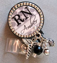 Personalized ID Badge Reel - RN, NP, Nurse, medical symbol, caduceus charm, medical office, nurse instructor, student nurse. $19.00, via Etsy.