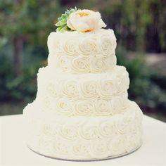 Ivory Rosette Wedding Cake