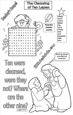 Cleansing of ten lepers word search puzzle - Cleansing of ten lepers Sunday School Lessons, Sunday School Crafts, School Material, Ten Lepers, Word Search Puzzles, Jesus Heals, Bible Words, Different Quotes, Bible Crafts