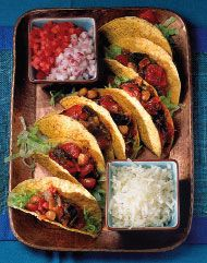 Veggie eggplant & bean Tacos ***used Blk beans instead of kidney.  1 onion, 1 pepper, 4 cloves garlic, more cumin, less chili powder, 2 sm eggplants, mild salsa instead of tomatoes to mix in. ALL HAD SECONDS!!!***