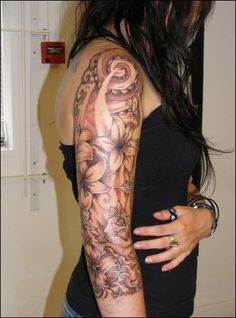 womens classy 3/4 tattoo sleeves drawings | Floral Half Sleeve Tattoos for Women | Half Sleeve Tattoos For Women