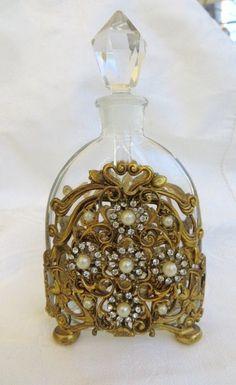 Vintage Perfume Bottle Brass Filigree Jeweled Pearl and Rhinestone