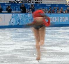 Yulia Lipnitskaya executing Biellmann spin at Olympics 2014 in Sochi - her spin is amazing
