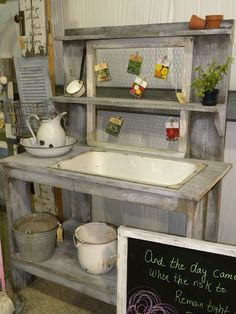 Potting Bench - love the idea to clothes pin your seed packets to the chicken wire.