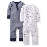 Our soft cotton will cuddle your baby boy in softness. Clothe him in an easy-to-wear jumpsuit that's full of details like embroidery, tiny front pockets and a new Henley-style neckline that's perfect for tummy time or even sleeping. Mom will love the ease and value of this 2-pack.
