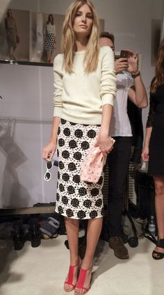 Love skirt and top together. Shoes and clutch, not so much.